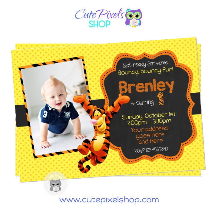 Tigger Invitation with photo, Winnie the Pooh Birthday, Yellow and Orange
