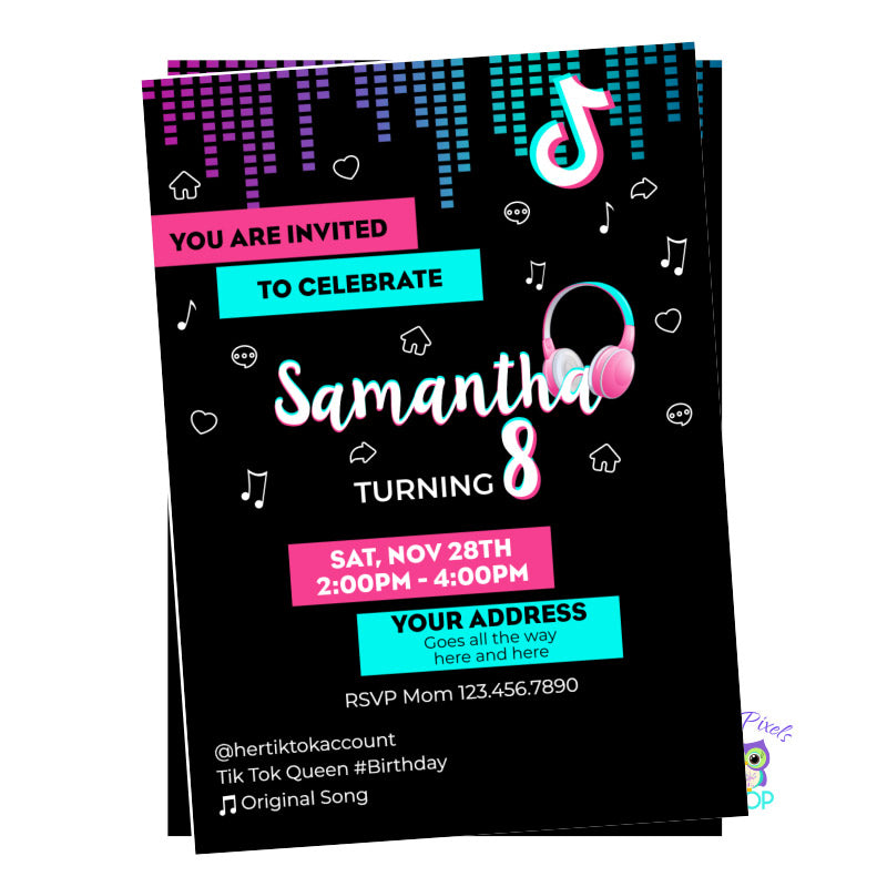 TikTok Birthday, Invitation in black, pink and turquoise