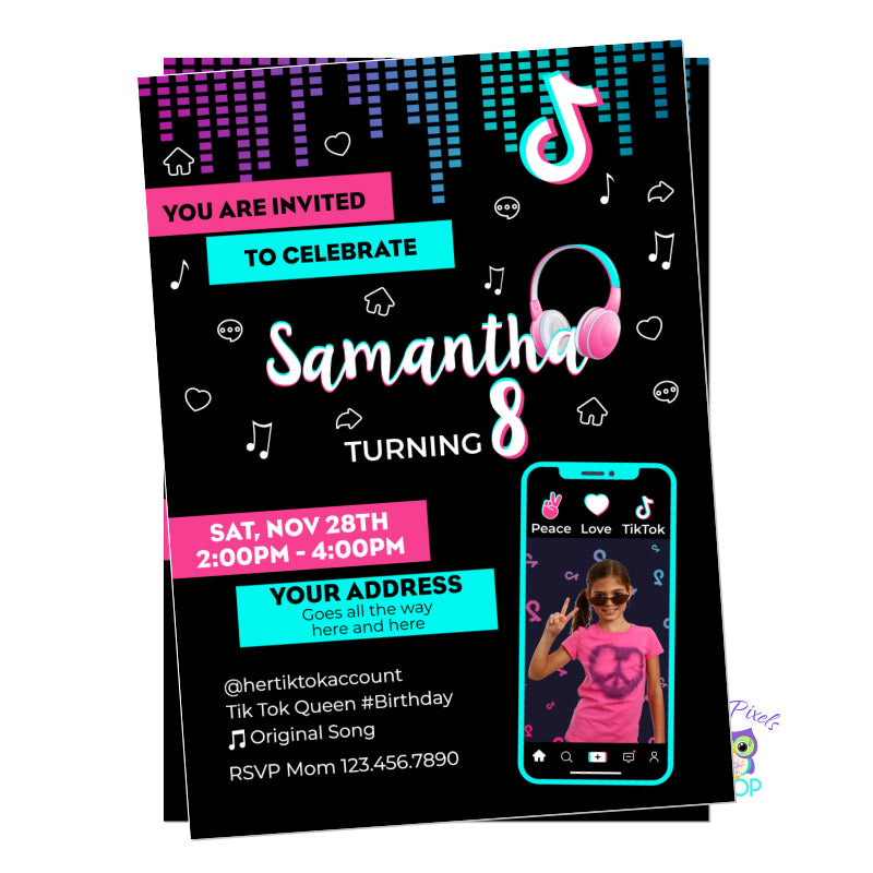 TikTok Invitation, black background with cild's photo