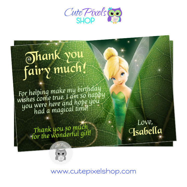 Tinkerbell Thank You Card, Hiding behind green leaves, DIsney Fairies Card