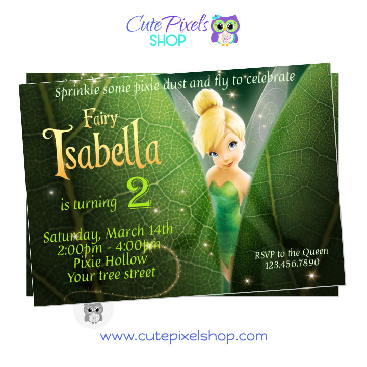 Tinkerbell Invitation, Hiding behind green leaves, DIsney Fairies Invitation