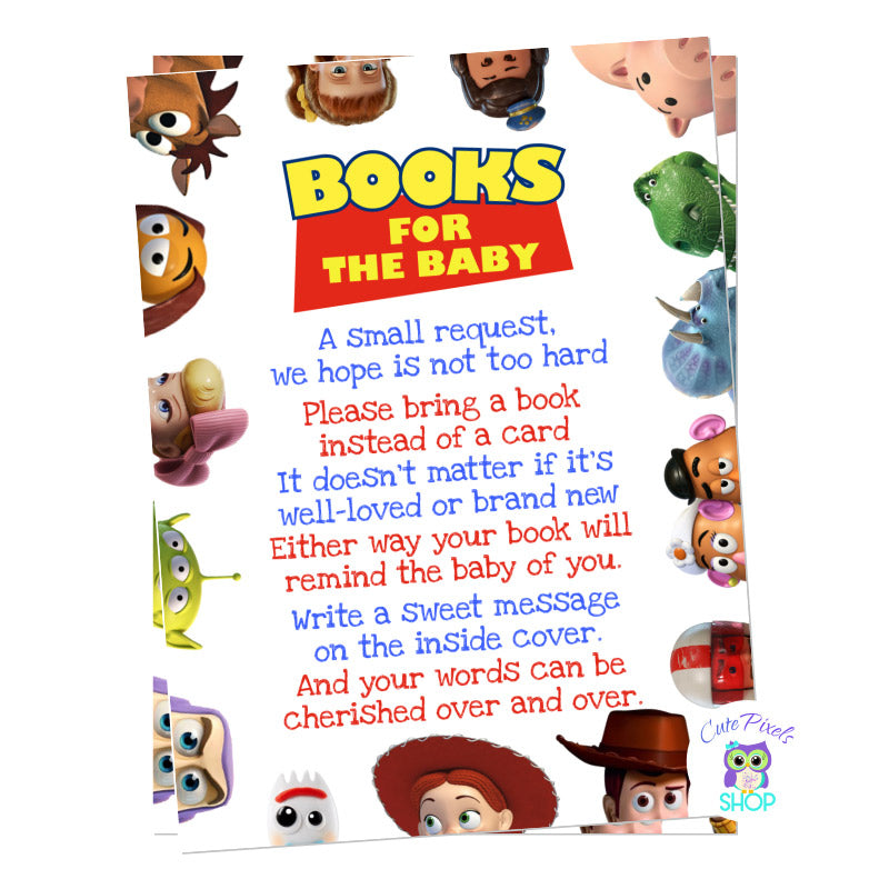 Toy Story Baby shower bring a book for baby card. Insert for Baby shower invitation to request guests to bring a book instead of a card with all Toy Story characters around.
