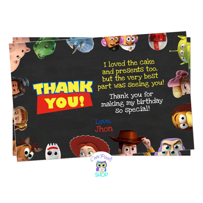 Toy Story thank you card for Toy Story Birthday Party in a chalckboard background with all Toy Story friends around invitation.