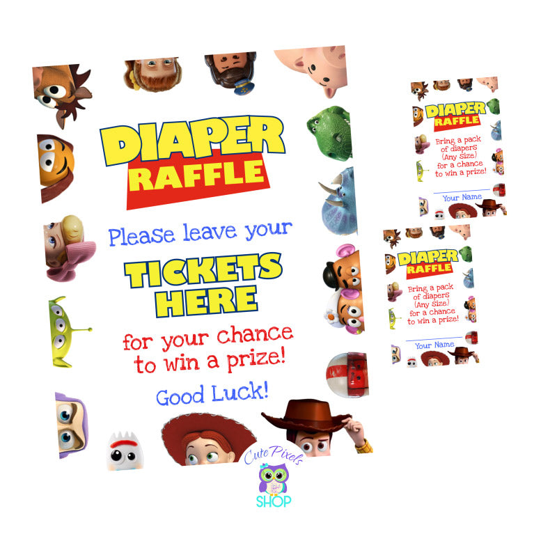 Baby Shower Game, Toy Story Baby Shower Diaper Raffle, It's a boy story diaper raffle sign and tags