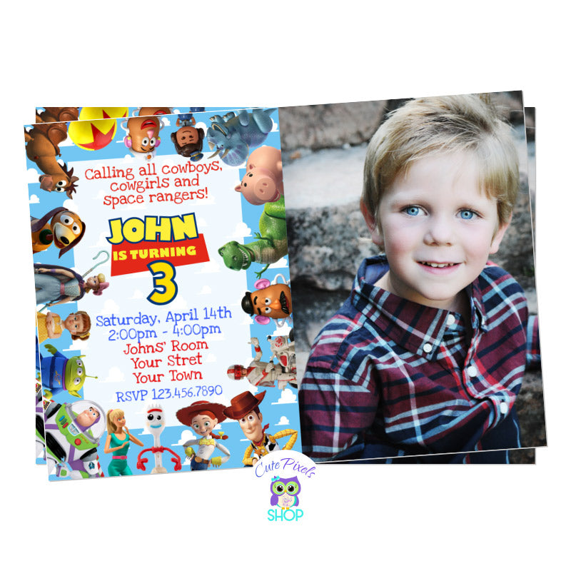 Toy Story Birthday Invitation with Child's photo and all Toy Story cahracters around invitation for a great Toy Story Birthday party