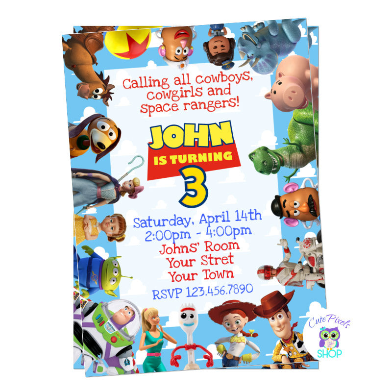 Toy Story Invitation. All Toy Story characters around invitation including toy Story 4, Child's name as Toy Story Logo