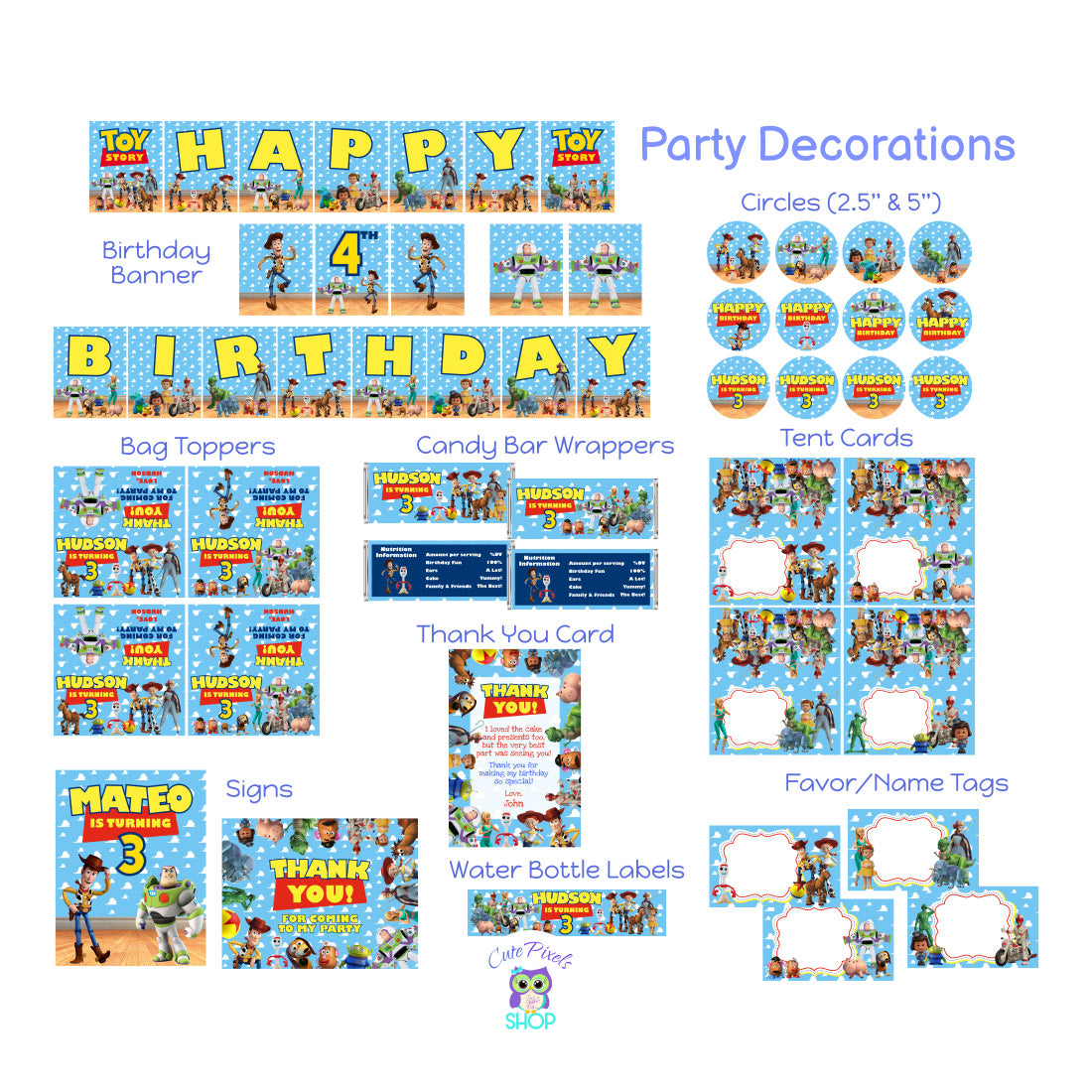 Toy Story Party Decorations. Including Birthday Banner, Cupcake Toppers, Bag Toppers, Candy bar Wrappers, Place Cards, Signs, Thank You Card, Water Bottle Labels and Favor Tags with all Toy Story 4 characters