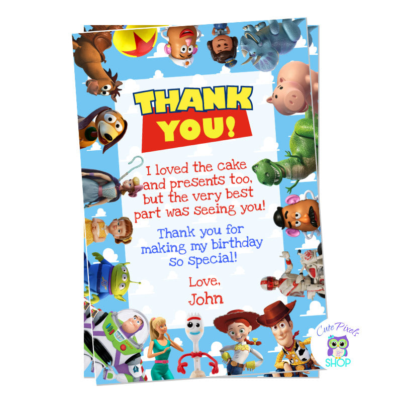 Toy Story Thank you card with all Toy Story Characters around it