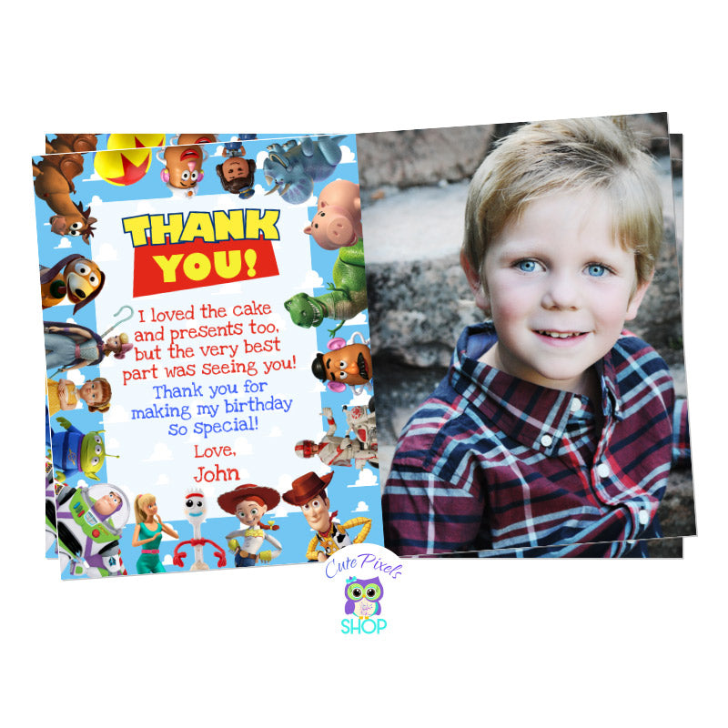 Toy Story thank you card with child's photo and all Toy Story friends on it