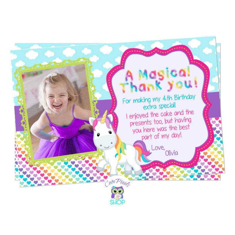 Unicorn Thank You Card, Unicorn Birthday Card. Cute unicorn in a clouds and colorful rainbow hearts background. Party text in rainbow colors for a Unicorn Birthday Party. Includes child's photo