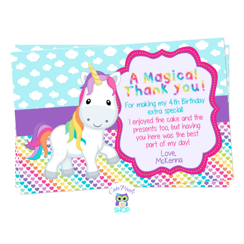 Unicorn Thank You Card, Unicorn Birthday Card. Cute unicorn in a clouds and colorful rainbow hearts background. Party text in rainbow colors for a Unicorn Birthday Party