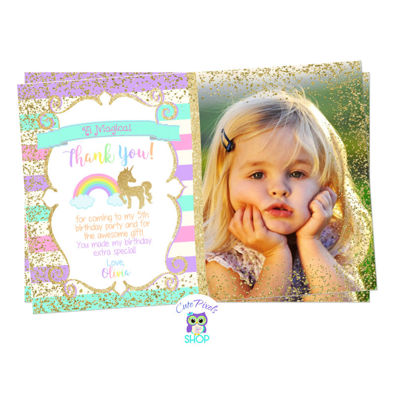 Unicorn Thank You Card, Unicorn Birthday Card. Cute unicorn in glitter gold and pastel rainbow colors background. Party text in rainbow colors for a Unicorn Birthday Party, includes child's photo