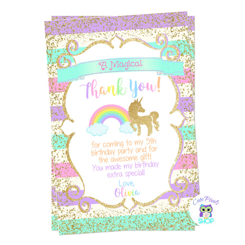 Unicorn Thank You Card, Unicorn Birthday Card. Cute unicorn in glitter gold and pastel rainbow colors background. Party text in rainbow colors for a Unicorn Birthday Party