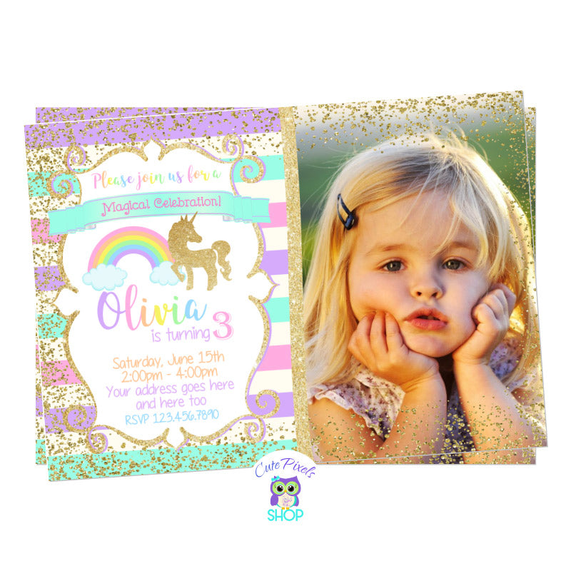 Unicorn Invitation, Unicorn Birthday Invitation. Cute unicorn in glitter gold and pastel rainbow colors background. Party text in rainbow colors for a Unicorn Birthday Party, includes child's photo