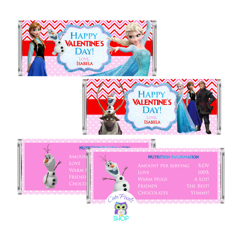 Valentine's day candy bar wrappers with disney Frozen characters, Elsa, Anna, Olaf. Customized with a Happy Valentine's day message and name. Red and pink colors for a cute Valentine's day favor