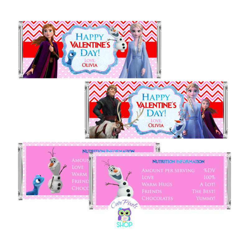 Valentine's day candy bar wrappers with disney Frozen II characters, Elsa, Anna, Olaf. Customized with a Happy Valentine's day message and name. Red and pink colors for a cute Valentine's day favor