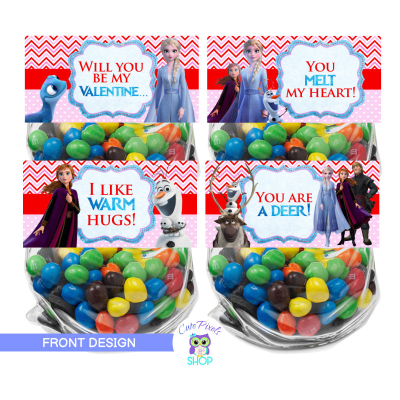 Valentine's day bag toppers with Frozen II theme, having Elsa, Olaf, Anna, Kristoff and sven to celebrate valentine's day. Use on treat bags to give as valentine's favors