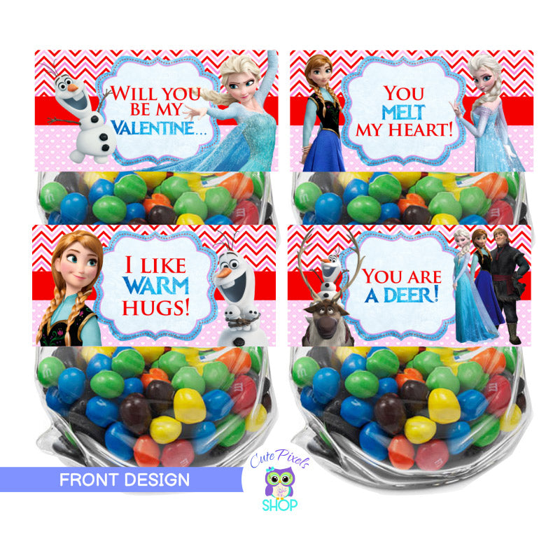 Valentine's day bag toppers with Frozen theme, having Elsa, Olaf, Anna, Kristoff and sven to celebrate valentine's day. Use on treat bags to give as valentine's favors