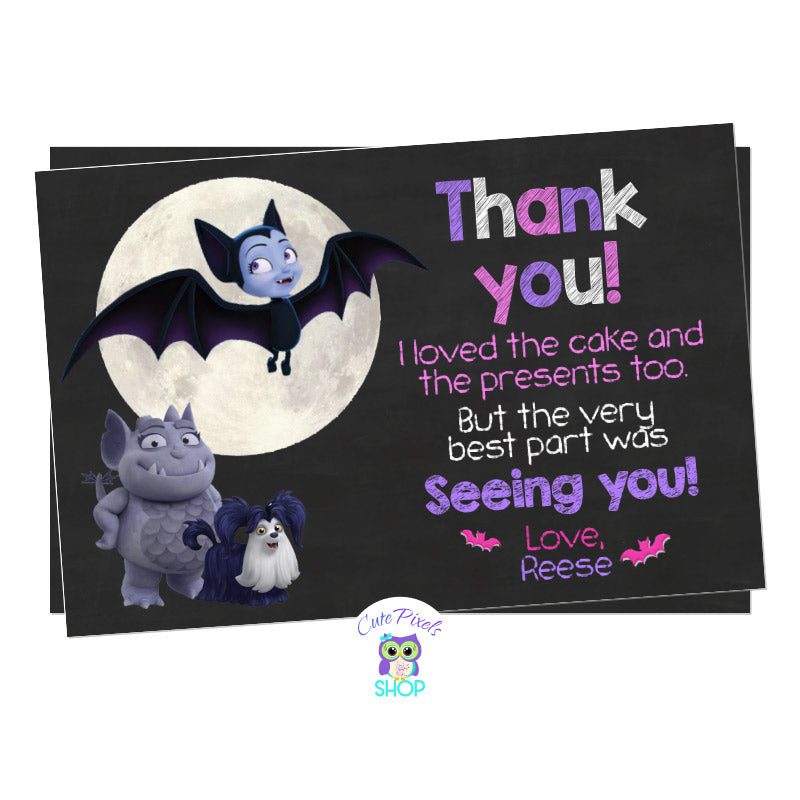 Vampirina Thank You Card, Vampirina as a bat in a chalkboard background with the moon, Gregoria and ghost Demi