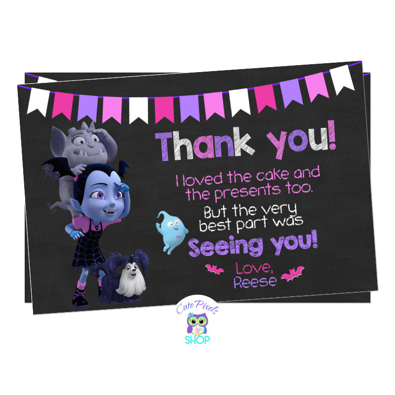 Vampirina Thank You Card, Vampirina as a girl in a chalkboard background with the moon, Gregoria and ghost Demi