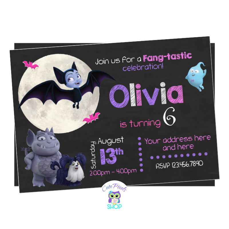 Vampirina Birthday Invitation, Vampirina as a bat in a chalkboard background with the moon, Gregoria and ghost Demi