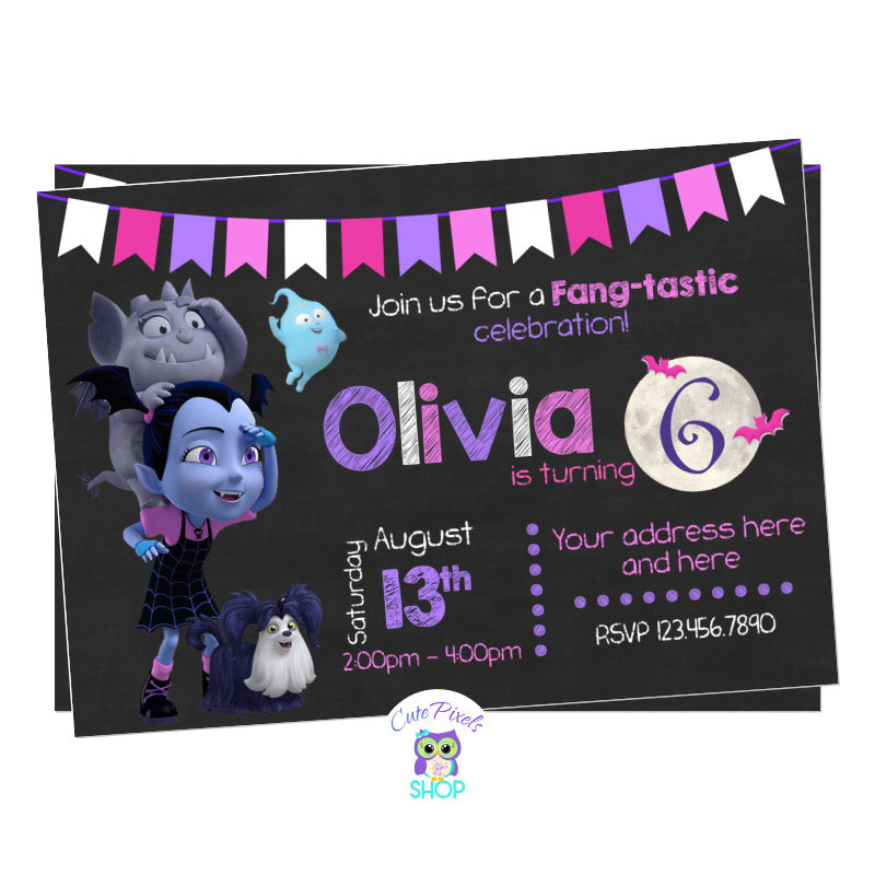 Vampirina Birthday Invitation, Vampirina as a girl in a chalkboard background with the moon, Gregoria and ghost Demi