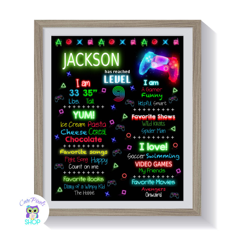 Video Game poster, Video Game Chalkboard birthday sign with Video game symbols, controller, neon colors and your child's milestones