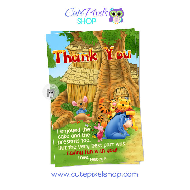 Winnie The Pooh Thank You card, All Winnie The Pooh Characters around house for a cute Birthday Thank You Card