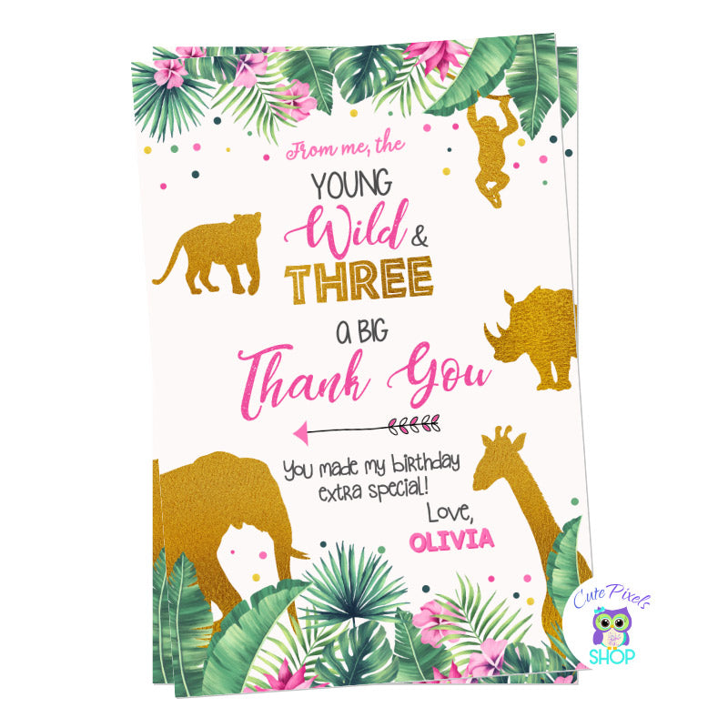 Young, Wild and Three Birthday Thank you card with tropical leaves, pink flowers and wild animals in gold