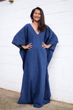 Load image into Gallery viewer, Mala Handmade Navy Blue V Neck Plus Size Summer Kaftan Dress