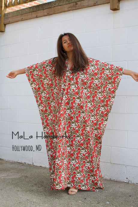 Mala Handmade Pink And Grey V Neck Printed Summer Kaftan Dress
