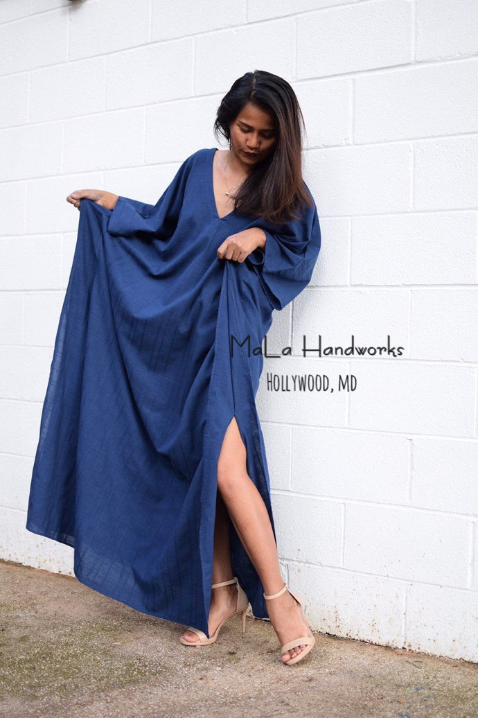 Mala Handmade Navy Blue V Neck Plus Size Summer Kaftan Dress