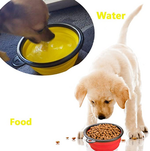 Collapsible Dog Bowl, Foldable Expandable Cup Dish for Pet Cat Food Water Feeding Portable Travel Bowl Free Carabiner