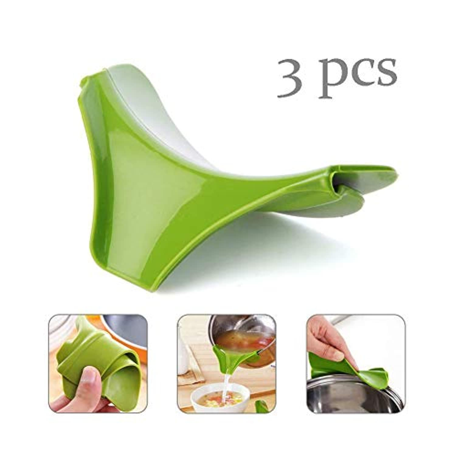 3 pcs Silicone Kitchen Funnel Anti-Spill Kitchenware Edge Deflector Assistant Gadgets Tool