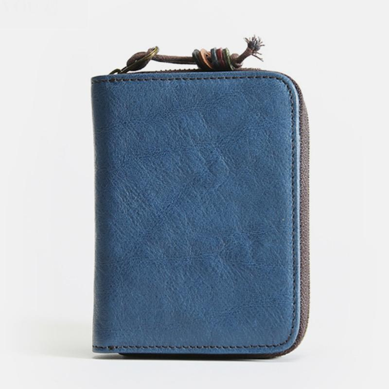 Durable Genuine Leather Retro Vertical Wallet