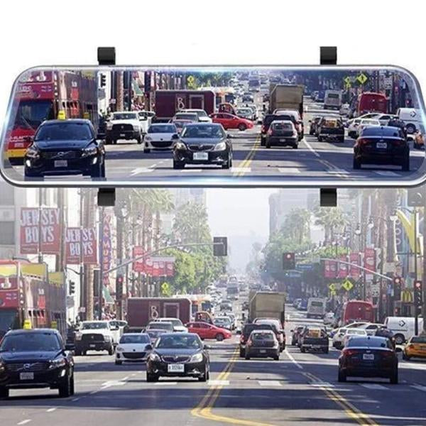 Full-Screen LCD Rearview Mirror, Front And Rear Car Recorder