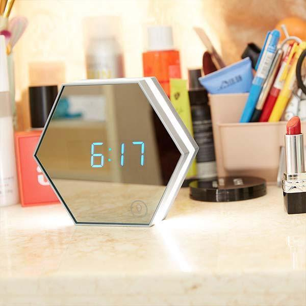 Elegant Multi-functional Alarm Clock - It s a Mirror  Alarm  and a Night Light!
