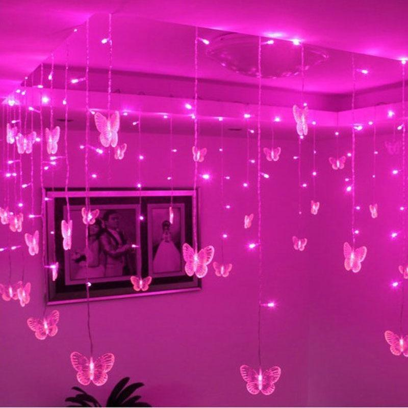 pink butterfly string lights