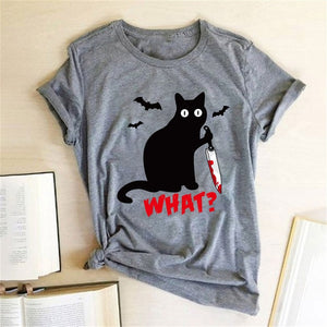 Black Cat What Tshirt Murderous Cat Knife Women Funny T Shirt Short Sleeve Halloween Tops Tees Femme Camisetas Verano Mujer 2019