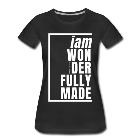 Wonderfully Made, i am / Perfectly Basic Women's Tee / White Graphic - black