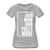 Wonderfully Made, i am / Perfectly Basic Women's Tee / White Graphic - heather gray