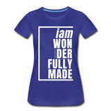Wonderfully Made, i am / Perfectly Basic Women's Tee / White Graphic - royal blue
