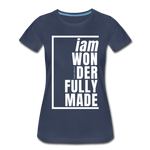 Wonderfully Made, i am / Perfectly Basic Women's Tee / White Graphic - navy