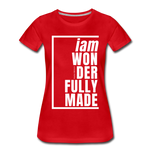 Wonderfully Made, i am / Perfectly Basic Women's Tee / White Graphic - red