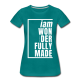 Wonderfully Made, i am / Perfectly Basic Women's Tee / White Graphic - teal