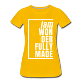 Wonderfully Made, i am / Perfectly Basic Women's Tee / White Graphic - sun yellow