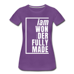 Wonderfully Made, i am / Perfectly Basic Women's Tee / White Graphic - purple