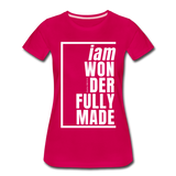 Wonderfully Made, i am / Perfectly Basic Women's Tee / White Graphic - dark pink