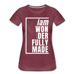 Wonderfully Made, i am / Perfectly Basic Women's Tee / White Graphic - heather burgundy