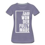 Wonderfully Made, i am / Perfectly Basic Women's Tee / White Graphic - washed violet